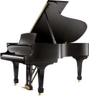 A black grand piano sits ready for playing after being moved. Grand pianos require knowledge, skill and the right equipment to move from one location to another.